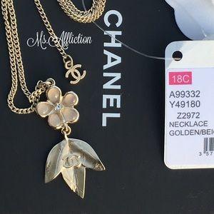 CHANEL Authentic Leaf Enamel CC Necklace NWT